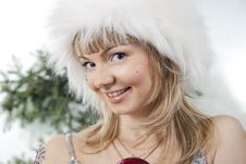 Cheerful Girl In A White Cap Stock Photography