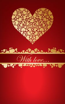 Free Nice Card With Golden Hearts Stock Photography - 17399942