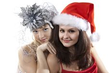 Free Two Friend Girl Celebrate New Year. Royalty Free Stock Image - 17399976