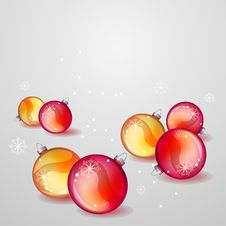 Free Christmas Greeting Card With Red And Gold Balls Royalty Free Stock Photos - 17399998