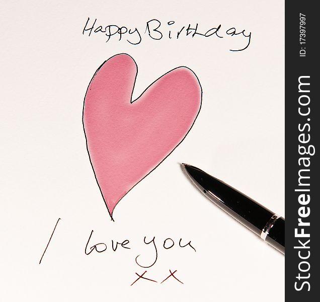 Handmade Romantic Birthday Card Free Stock Images Photos