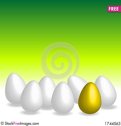 Easter eggs. Golden egg Stock Photo