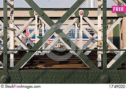Train in the bridge Stock Photo