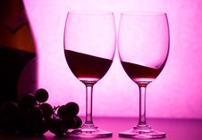 Free Wineglasses In Pink Light Royalty Free Stock Images - 1740249