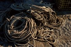 Free Bales Of Rope Beside Lobster Trap Stock Image - 1741141