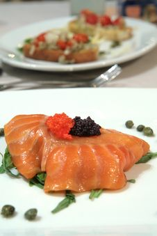 Free Smoked Salmon Slices With Red And Black Caviar Stock Images - 1741374