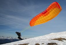 Free Paraglider Takes Off Stock Photos - 1745663
