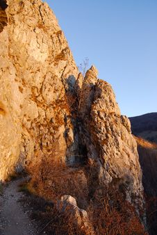 Rocks On A Sunny Day, At Sunset Light Royalty Free Stock Photography