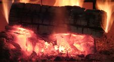 Burning Log Royalty Free Stock Photo