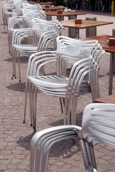 Free Stacked Silver Chairs Royalty Free Stock Images - 1748859