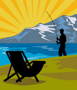 Free Fly Fisherman Fishing Chair Stock Image - 17406471