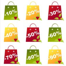 Free Set Of 9 Christmas  Bags Royalty Free Stock Image - 17400876