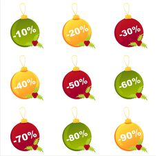Free Set Of 9 Christmas  Balls Stock Images - 17400884