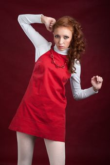 Free Young Lady In Red Dress Royalty Free Stock Images - 17401239