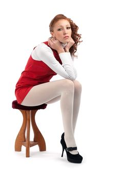Free Beautiful Sexy Girl Sitting On A Chair Stock Photo - 17401250