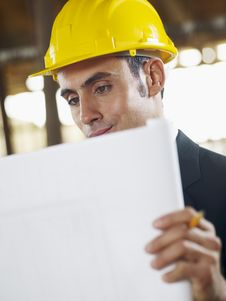 Free Architect With Blueprint In Construction Site Stock Photo - 17401850