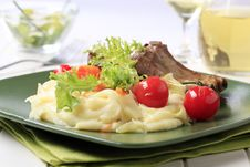 Roasted Pork Ribs And Mashed Potato Stock Photos
