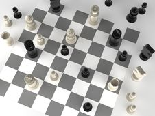 A Played Out Set Of Chess Royalty Free Stock Photo