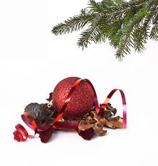 Free Christmas Ball And Christmas Tree Stock Photo - 17402180