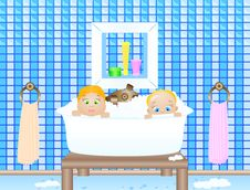 Free Two Baby In Bathroom Stock Images - 17402524