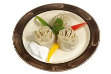 Free Oriental Dumplings With Sour Cream Stock Image - 17404041