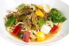 Free Beef Stirfry With Noodles And Mixed Vegetables Stock Photography - 17404062