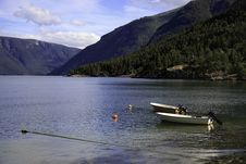 Free Boats On The Fjord, Norway Royalty Free Stock Photos - 17404438