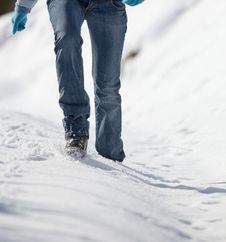Free Woman Walking In Deep Snow Stock Image - 17404621