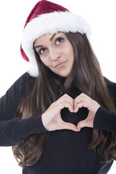 Free Form Of Heart Shaped By The Hands Of A Young Woman Stock Photos - 17404673
