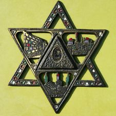 Closeup Of Antique Star Of David. Stock Images