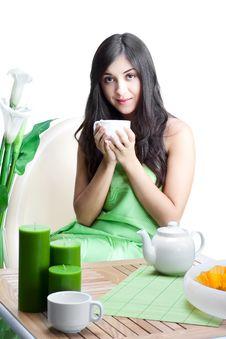 Free Beautiful Woman  In Cafe Stock Image - 17404941
