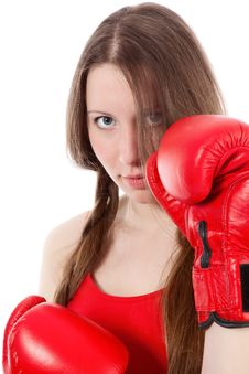 Free Woman Wearing Boxing Gloves Stock Photography - 17404942