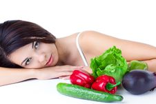 Free Young Girl With  Vegetables Stock Photo - 17404990