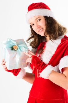 The Portrait Of The Woman Santa Stock Images