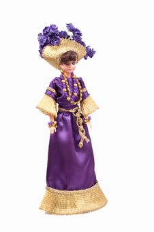 Toy Doll With Handmade Purple Stock Images