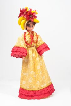 Free Toy Doll With Handmade Gold And Red Dress Stock Photos - 17405273