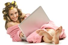 Free Girl In Pink Dressing Gown Sitting With Laptop Stock Photo - 17405560