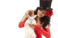 Free Magician With  Bunny Stock Photography - 17405572