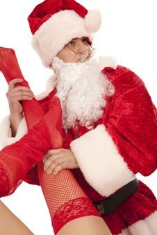Free Santa With Female Legs In Red Stockings Royalty Free Stock Image - 17405606