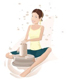 Woman And Potter S Wheel Stock Image