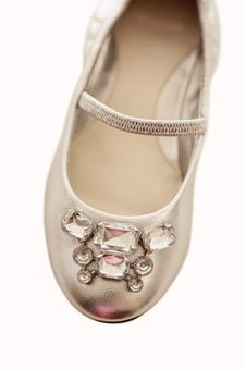 Rhinestone Shoe For Little Girl Stock Photography