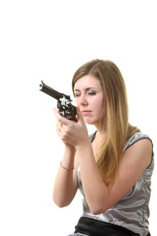 Free Woman Reload Revolver Stock Photography - 17406222