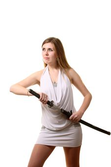 Free Woman With A Sword Royalty Free Stock Images - 17406229