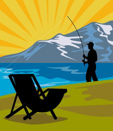 Fly Fisherman Fishing Chair Stock Image