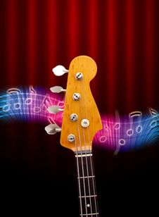 Free Bass Guitar Head And Music Notes Royalty Free Stock Photos - 17407308