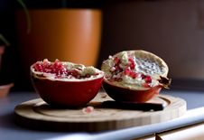 Free Two Halves Of Pomegranate Royalty Free Stock Photography - 17408167