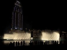 Burj Khalifa Performing Fountain. Royalty Free Stock Photos