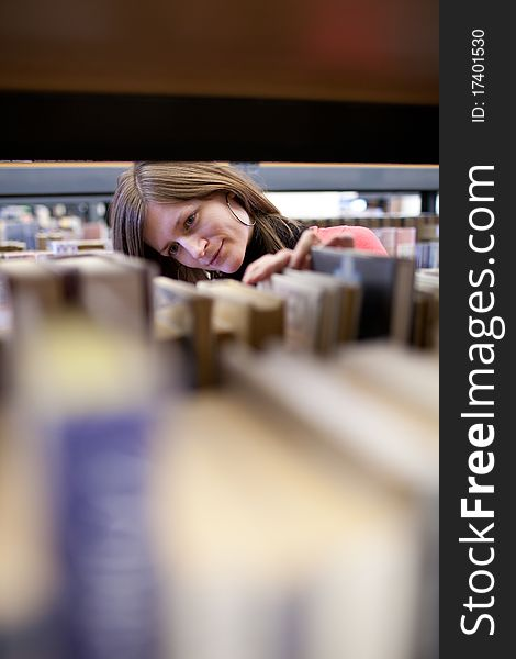 College student in a library