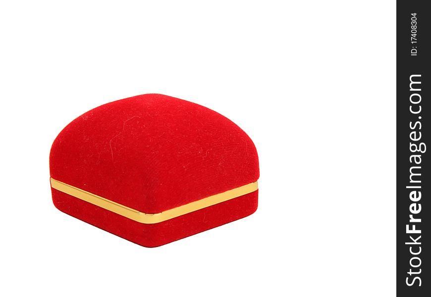 Red velvet luxury box for jewel with golden strip