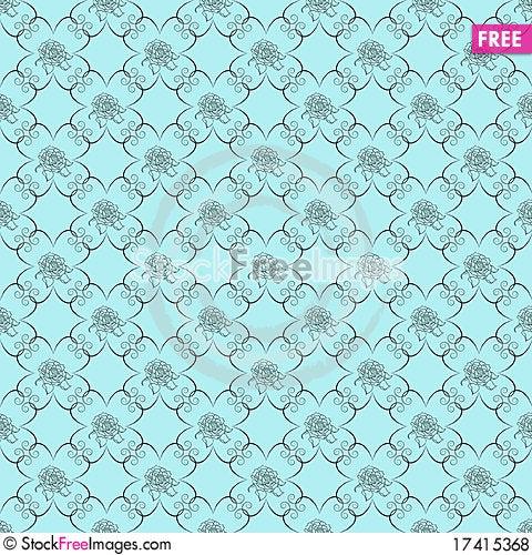 Free Blue Damask Seamless Wallpaper Royalty Free Stock Photos - 17415368